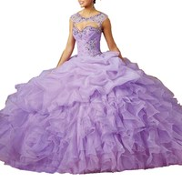 Detachable Strap Beaded Ruffle Organza Lilac Light Purple Quinceanera Dresses 2016 Vestido De 15 Anos Pageant Dress Custom made
