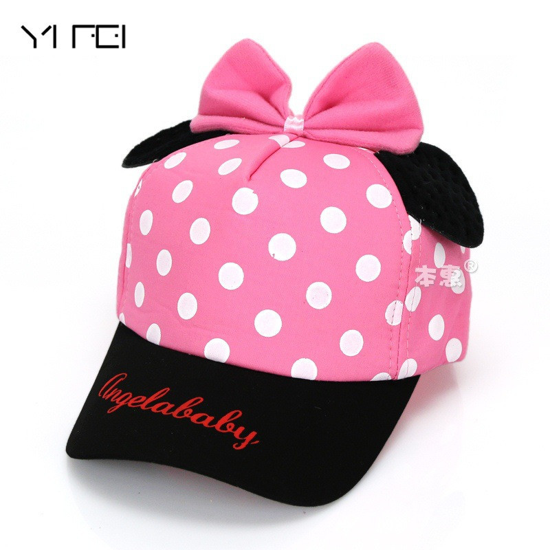 YIFEI 2017 Spring New Retail Children Girls Baseball Ear Cap Cute Baby Bowknot Polka Dot Design Adjustable Baseball Hat Cotton