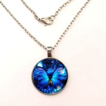 2019 Blue Butterfly Pendant Necklace fashion vintage Glass dome Cabochon Round steampunk Jewelry