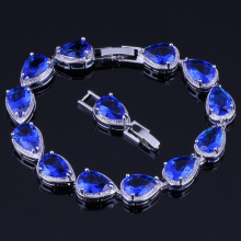 Enjoyable Pear Blue Cubic Zirconia 925 Sterling Silver Link Chain Bracelet 18cm 20cm For Women V0039
