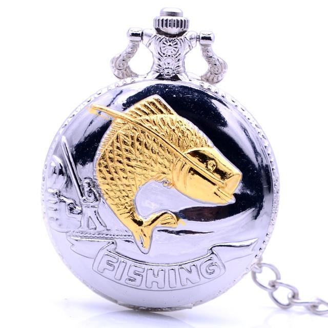 Steampunk Antique Silver Gold Fishing Quartz Pocket Watch Retro Necklace Chain P