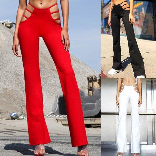 เซ็กซี่ตัด OUT Holes กางเกง SLIM FIT เหงื่อผอมกางเกงผู้หญิง Flare Hollow OUT บางต่ำเอวกางเกงสีแดงไวน์ร้อน