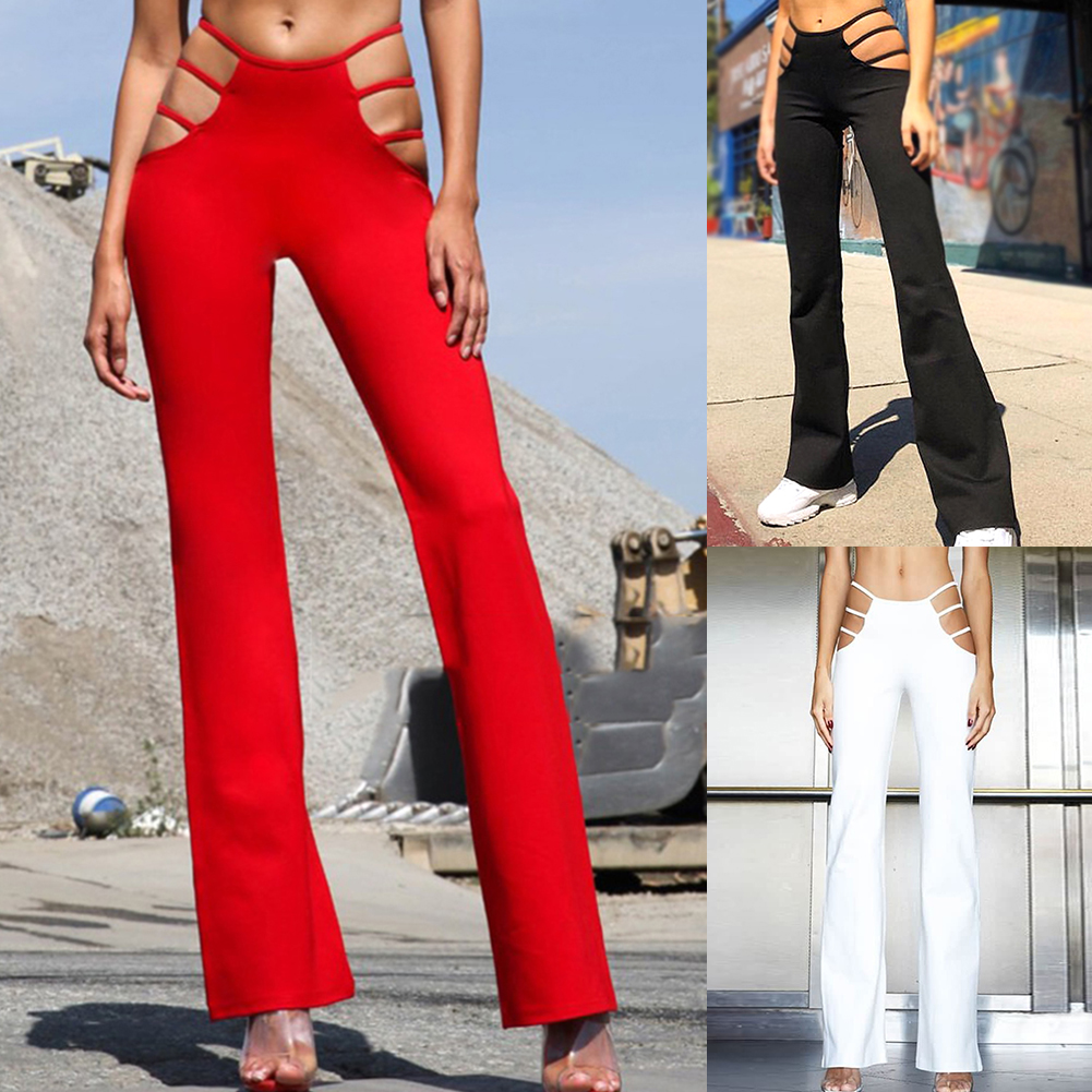 Sexy Cut Out Holes Womens Pants Slim Fit Sweat Skinny Solid Pants For Women Flare Hollow Out Thin Low Waist Wine Red Pants Hot
