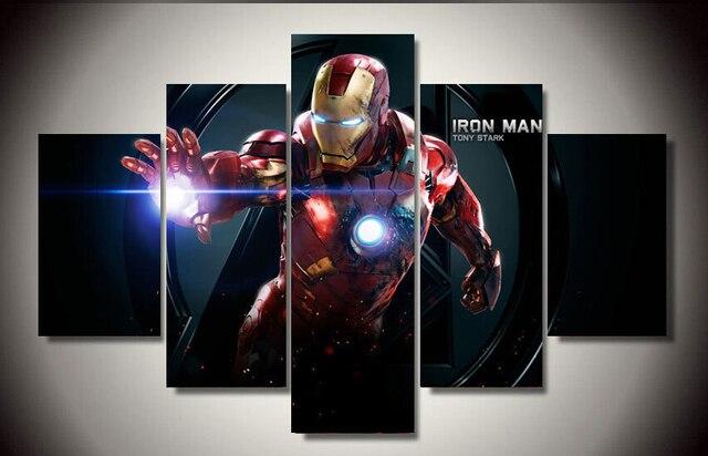 pictures decor cartoon movie iron man 5 piece print painting wall