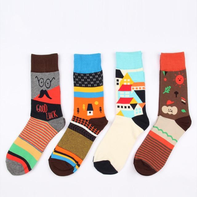 6 стили качество хлопок осень творческий прилив красочные деревня стиль счастливый скейтборд длинные марка мужские носки