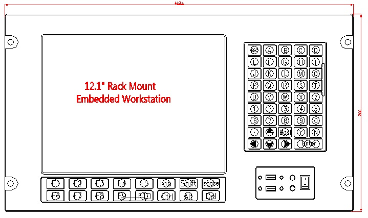6U állványra szerelt számítógép, 12,1 hüvelykes LCD, J1900 - Ipari számítógépek és tartozékok - Fénykép 2