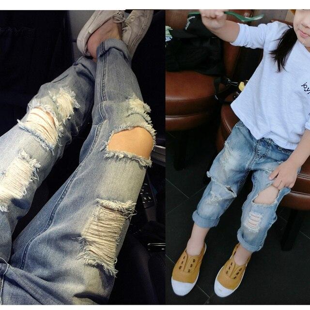 Лето новое прибытие 2016 мужской женский ребенок все матч ретро отделки отверстие джинсы свободные светлый цвет брюки шаровары