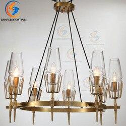 Luksusowe miedzi zawieszenie oprawa E14 Loft wiszące lampy kryształowe lampy wiszące typu Superior willa lampa wisząca LED sztuki światła