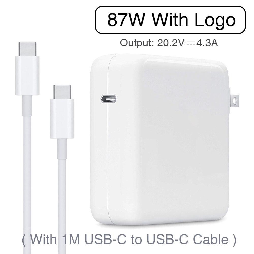87 W USB-C adaptateur secteur type-c PD chargeur avec 1 M USB-C câble de charge pour le dernier Macbook pro 15 pouces A1706 A1707 A1708 A1719