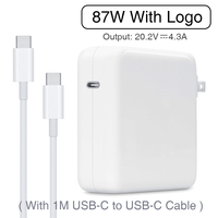 87W USB C Power Adapter Type C PD Charger With 1M USB C Charging Cable For Latest Macbook pro 15 inch A1706 A1707 A1708 A1719