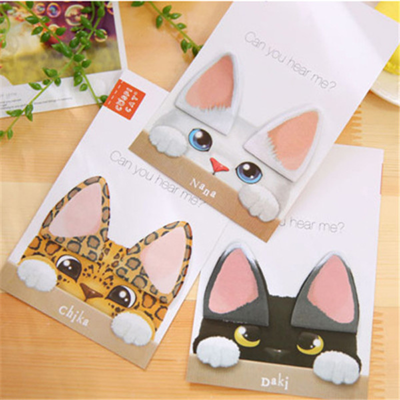 1X Cute Kawaii Cat Ear Sticky Notes Memo Pads Planner Stickers School Stationery Office Supply Notepads
