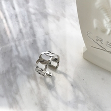 LouLeur 925 sterling silver wide chain rings silver vintage wild square strip chain open rings for women new fine jewelry gift