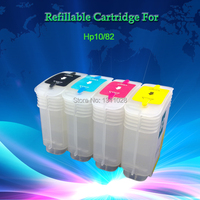 4 PCS 130ML Empty Refillable ink cartridge for HP10 82 C4844A C4911A C4912A C4913A for HP DesignJet 500 500ps 800 800ps 815mfp