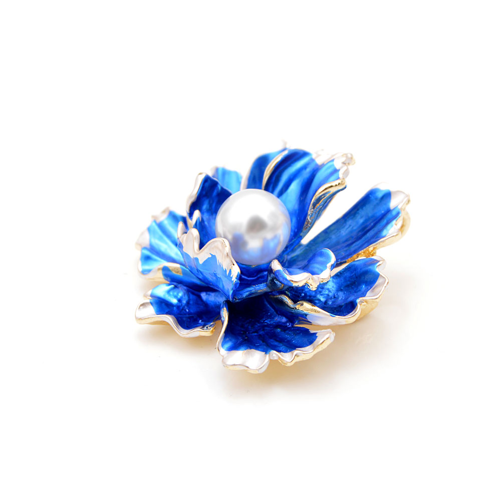 CINDY XIANG 6 Colors Choose Enamel Peony Flowers Brooches for Women Wedding Fashion Pearl Pins Elegant Coat Accessories Gift in Brooches from Jewelry Accessories
