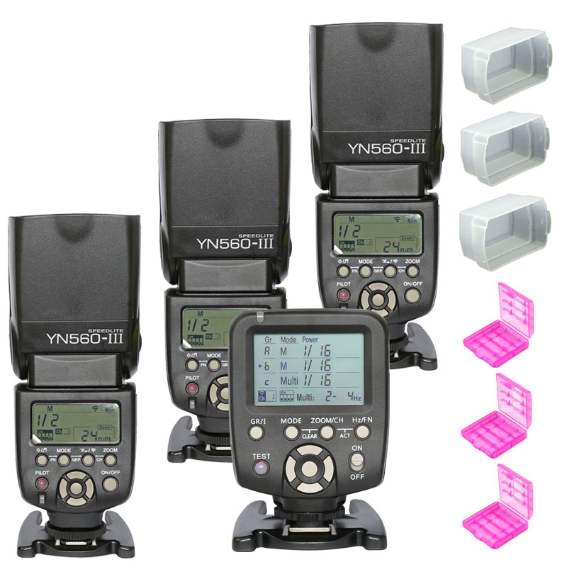 3pcs YONGNUO YN560 III YN560III Flash Speedlite Slave Speedlight +YN-560TX Wireless Flash Controller for Canon Nikon DSLR Camera genuine meike mk950 flash speedlite speedlight w 2 0 lcd display for canon dslr 4xaa