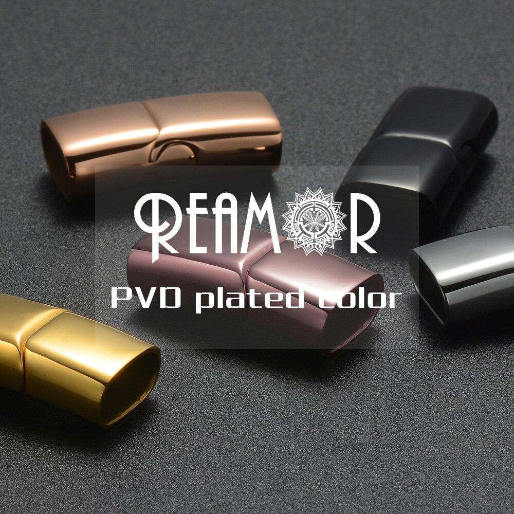 REAMOR 12*6mm 316l acier inoxydable Oblate boucle aimant crochet résultats de bijoux Bracelet en cuir fermoir magnétique bijoux à bricoler soi-même faisant