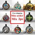 Comercio al por mayor de cristal de la foto collar cabochon cúpula de cristal collar de steampunk reloj colgante de joyería hecha a mano