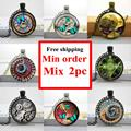 Wholesale glass photo cabochon necklace Steampunk Clock Necklace Glass Dome Pendant Handcrafted Jewelry