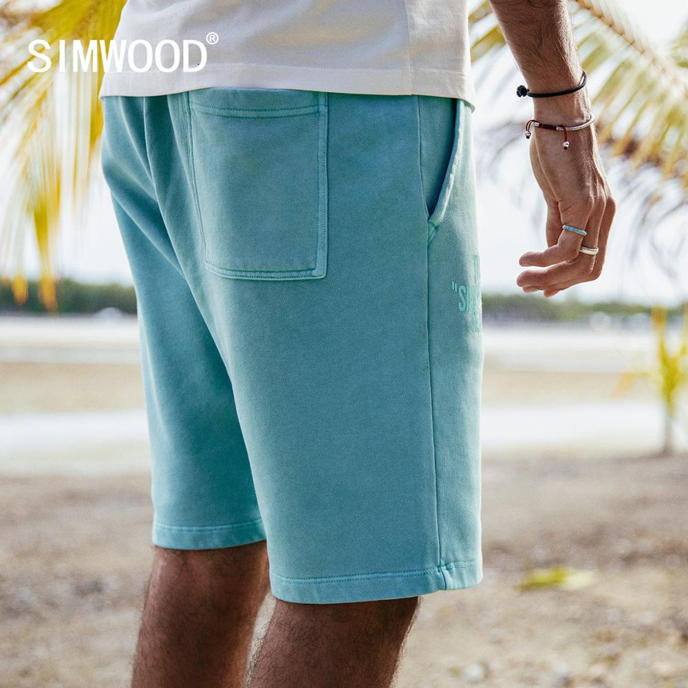 SIMWOOD 2019 summer new embroidery track   shorts   men letter print casual elastic drawstring vitage jogger sweat   shorts   190140