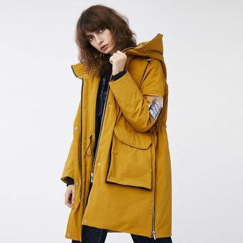 Wholesale promotion hit color uniform style hooded warm down jacket female 90%  white duck down coat for cold weather wq2273