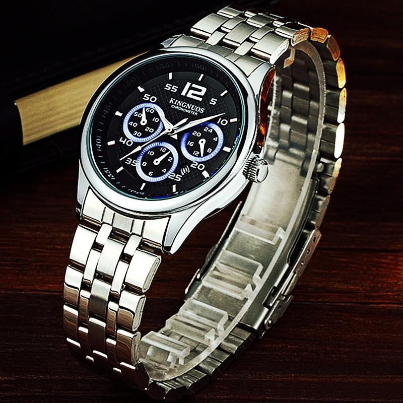 цена на Men's Watch Silver Stainless Steel Wrist Watches Fashion Male Calendar Business Clock Watertight Quartz Man Hour KINGNUOS Brand