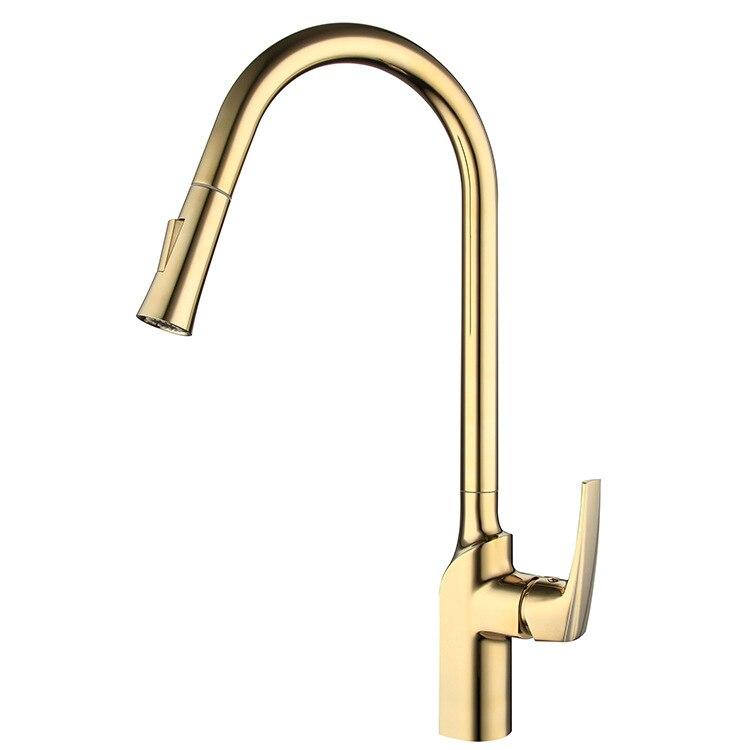 Or de luxe en laiton massif robinet de cuisine pull down Mélangeur robinet avec pulvérisation Froide et Chaude robinet-matériaux De Haute qualité