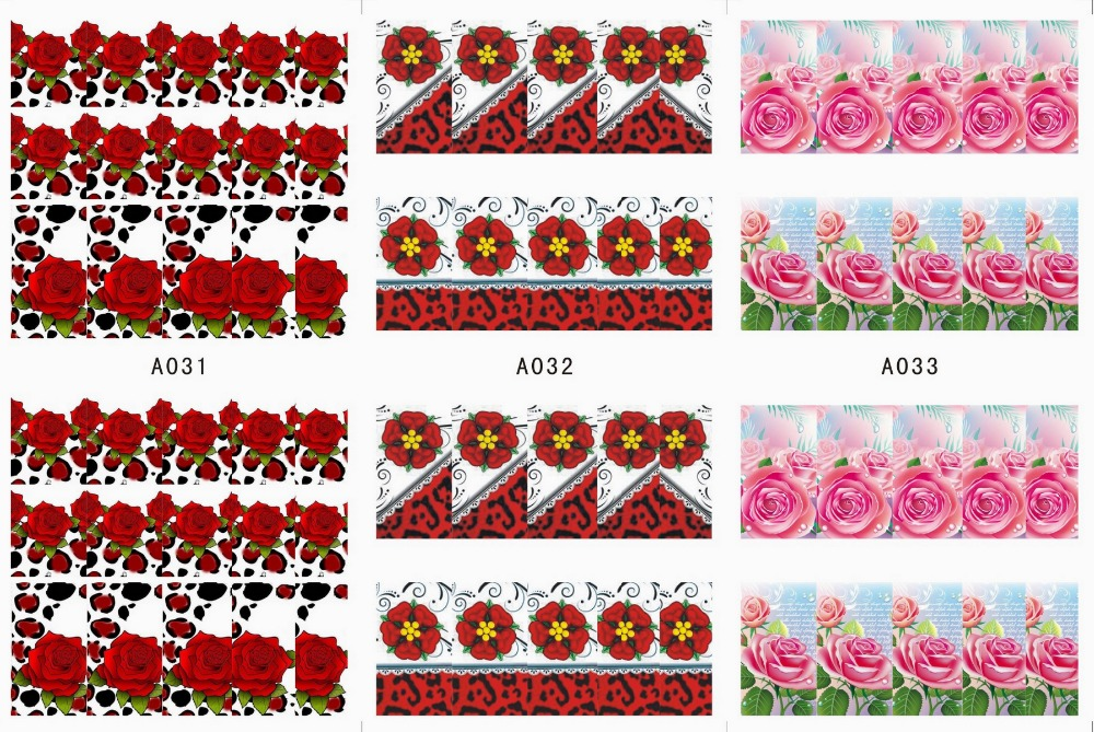 3 SHEETS / LOT Nail Art Water Transfers Stickers Nail Decals ...