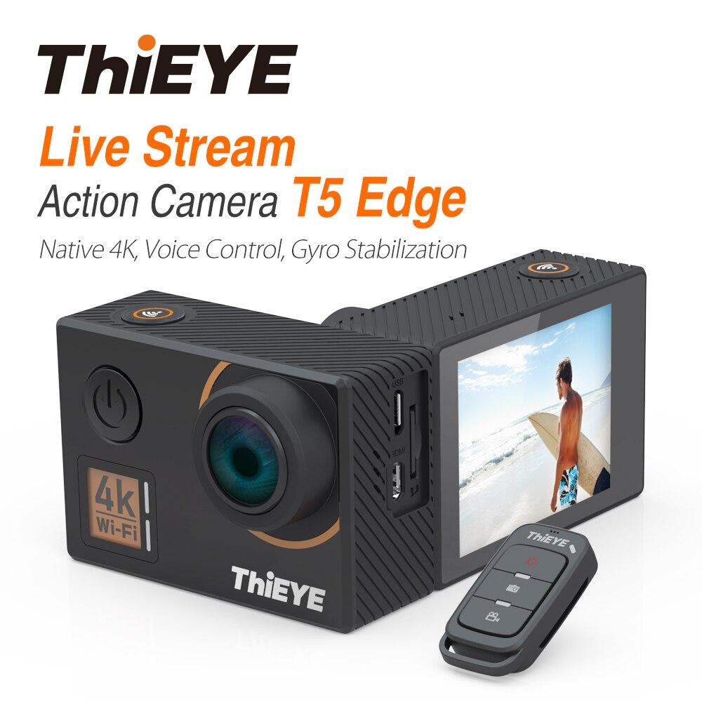 ThiEYE T5 borde con Stream Cam Real Ultra HD 4 K Cámara de Acción con giroscopio estabilizador control de voz bajo el agua del deporte de la cámara