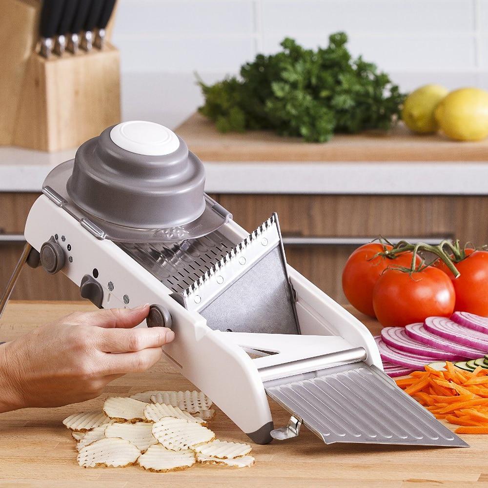 Manuālais dārzeņu griezējs Mandoline Slicer Kartupeļu griezējs Burkānu rīve Julienne Sīpolu Dicer Virtuves piederumu gatavošanas rīks