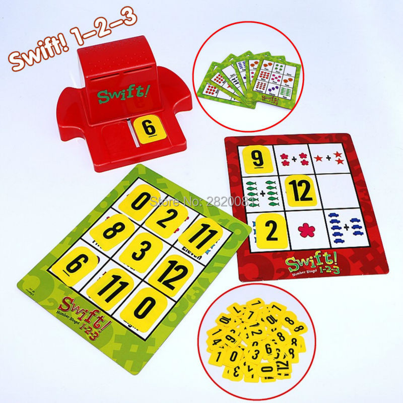 Classic toys board game Swift!1-2-3 number bingo math figure card,kid-parent's family funny game puzzle&educational match toy