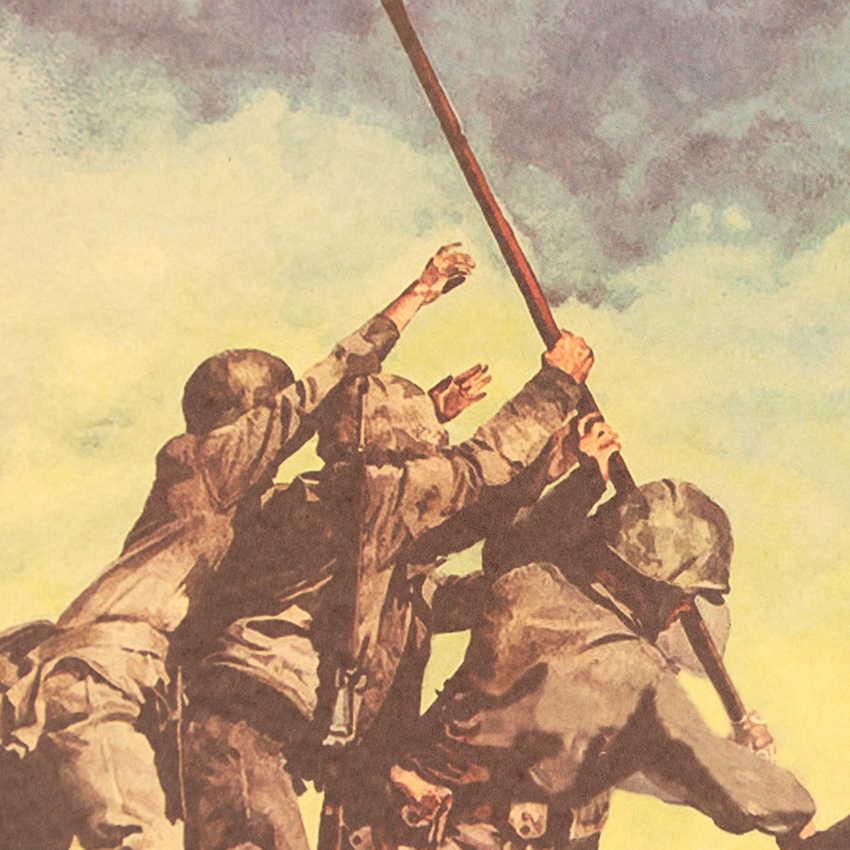 Kravat LER yükselterek bayrağı Iwo Jima Retro Kraft kağıt afiş iç Bar Cafe dekoratif boyama duvar Sticker