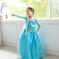Promotion High Quality Girls Princess Anna Elsa Cosplay Costume Kids Party Dress 3 8Y Free Shipping