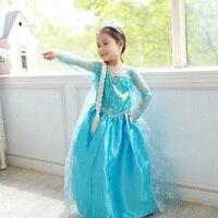 Promosyon Yüksek Kalite Kız Prenses Anna Elsa Cosplay Kostüm Çocuklar Parti Elbise 3-8Y Ücretsiz Kargo
