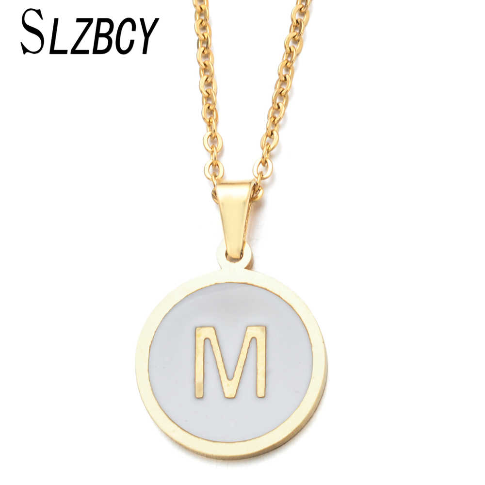 Simple Stainless Steel 26 Letter Initial Alphabet Pendant Necklaces Women Girl Gold Color Chain Necklace Collier Female Jewelry