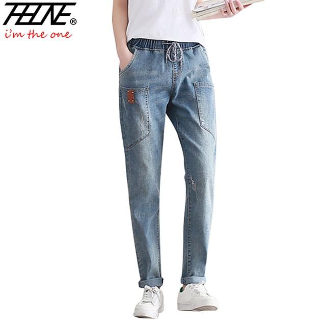 0844b9007c297 THHONE Quality Jeans Women Harem Pants Elastic Waist Stretch Trousers Long  Plus Size Fashion Washed Denim Jeans Pants Women