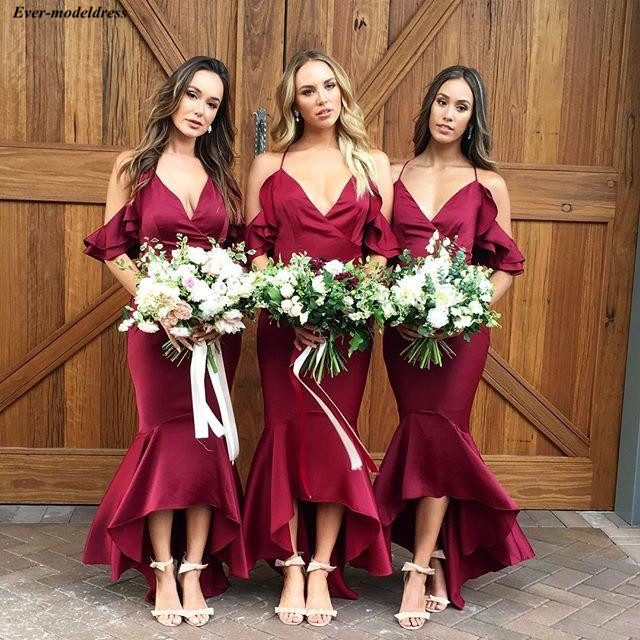 Chic Burgundy Mermaid   Bridesmaid     Dresses   Long Hi-Lo Spaghetti Straps Wedding Guest Party   Dresses   Maid Of Honor   Dresses   2019