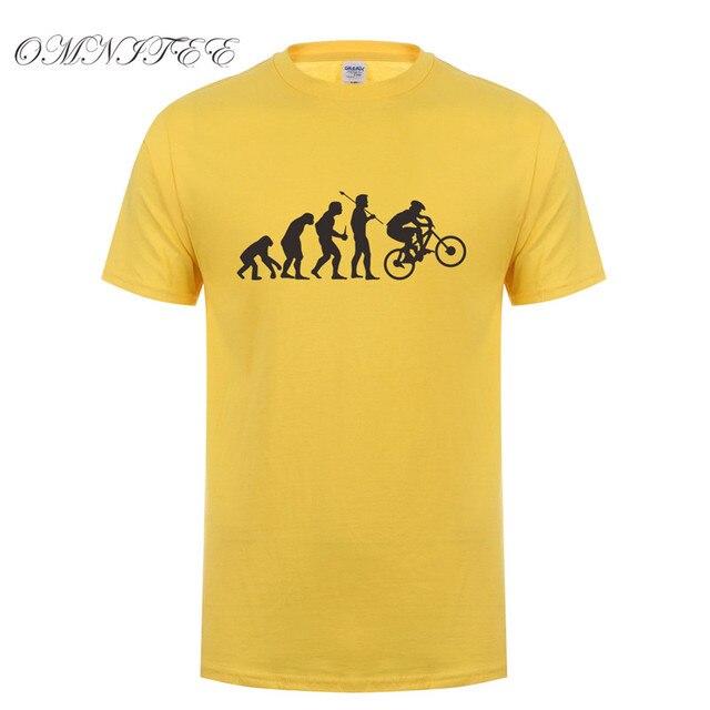 another chance 12837 f52ba US $9.89 34% di SCONTO Evolution Bike Uomini Della Maglietta Divertente  Moda Hip Hop Cycle Biker t Shirt Da Uomo Manica Corta O Collo Del Cotone ...