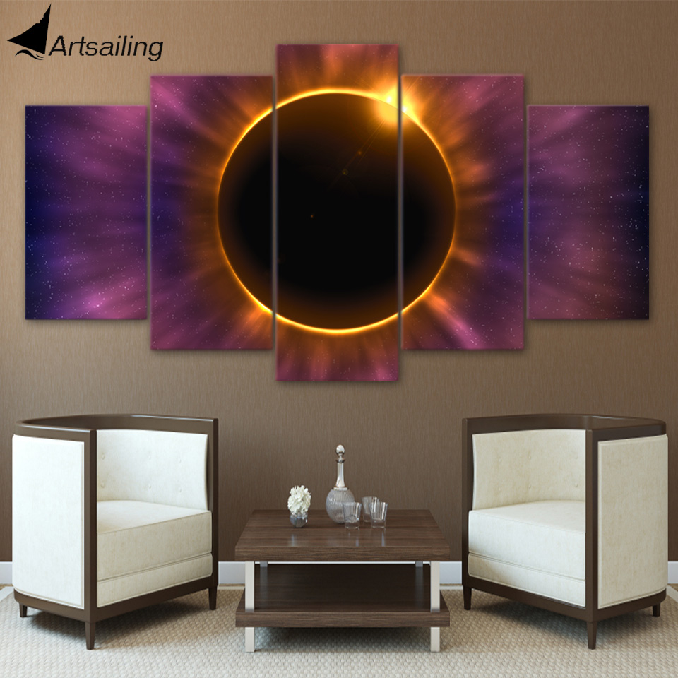HD Printed 5 Piece Canvas Art Solar Eclipse Modern Canvas Prints Wall Pictures for Living Room Free Shipping NY-7505B