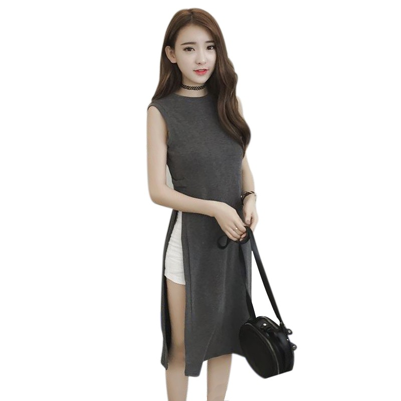 Split Straight Tank Dress Hem Vast Summer Dress O Neck Dress Women Sleeveless Loose Slim Knee-length Vestido Black Gray