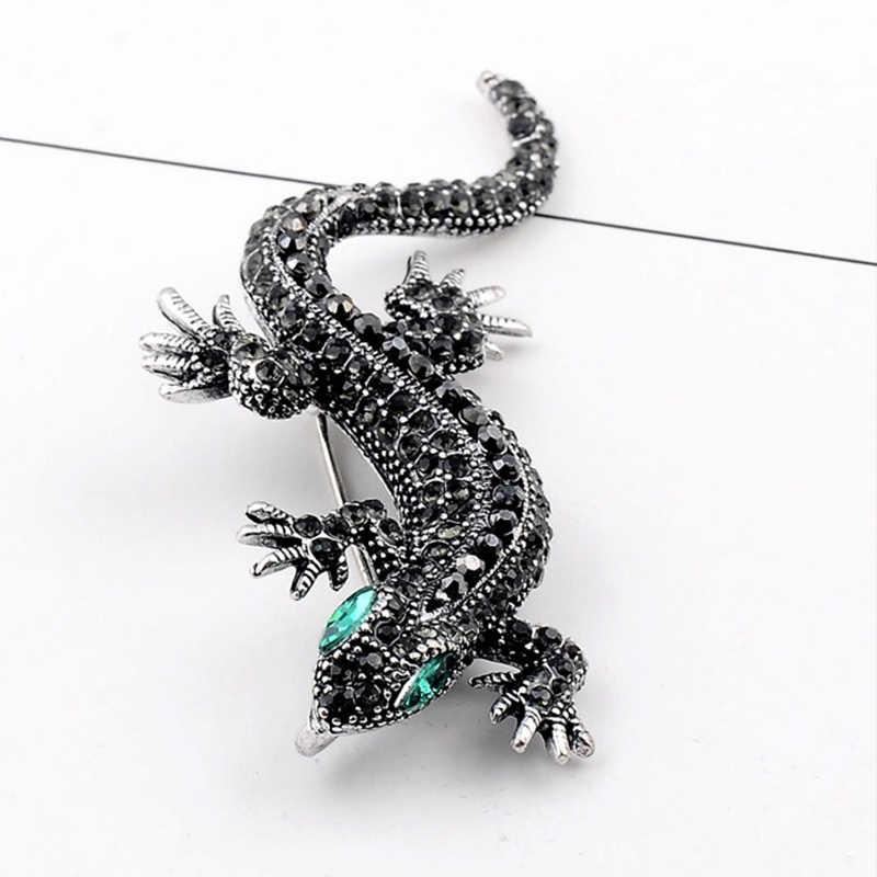 Sale Crystal Vintage Lizard Brooch For Women Jewelry Metal Enamel Pins Men Suit brooch animal clothing accessories