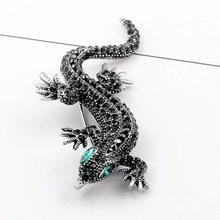 Распродажа Винтажная брошь в виде ящерицы с кристаллами для