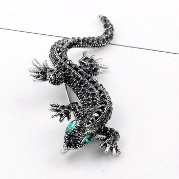 Vente cristal Vintage lézard broche pour femmes bijoux en métal émail broches hommes costume broche animaux vêtements accessoires