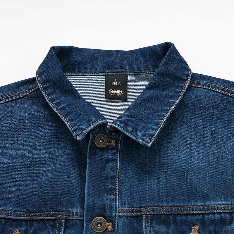 SEMIR 데님 재킷 남성 씻어 데님 재킷 클래식 코트 칼라 남성 캐주얼 패션 봄 가을 의류 outwear