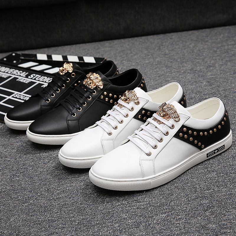 ФОТО Rivet Design Men's Casual Shoes White Bottom Rubber Loafers Men Golden Angel Head Fashion Men's Casual Dress Loafers