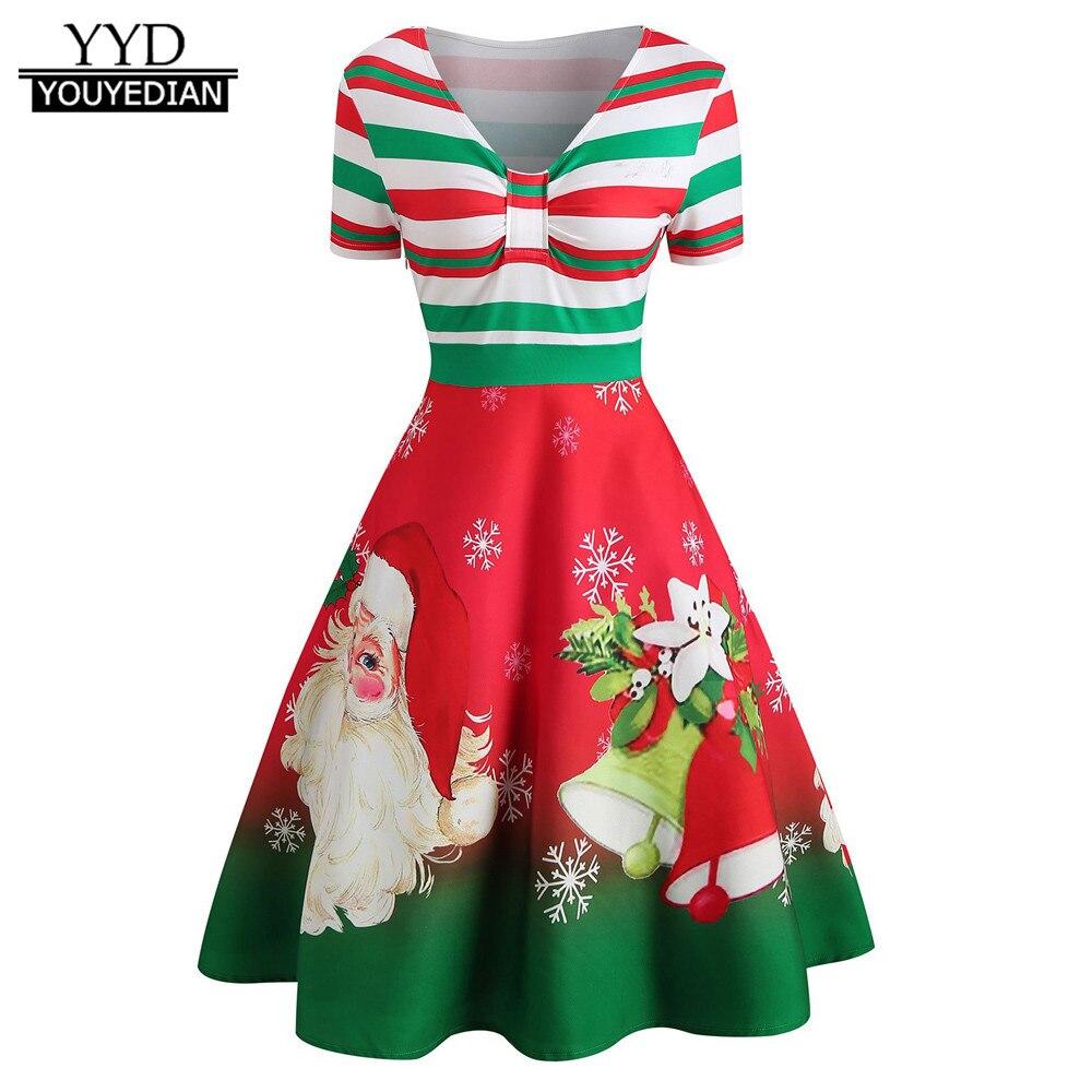 Fashion womens christmas dress elegant santa claus stripe print v-neck vintage swing dress for party 2018 robe noel femme