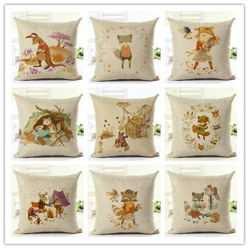 Cartoon Animal Style Houseware Home Decor Fox Printed Sofa Throw Pillowcase Linen Cotton Cushion Cover Almofadas