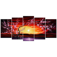 Plum Tree Blossom Large Size 5 Panels Modern Canvas Flowers Artwork Floral Paintings on Canvas Wall Art Decor for Living Room