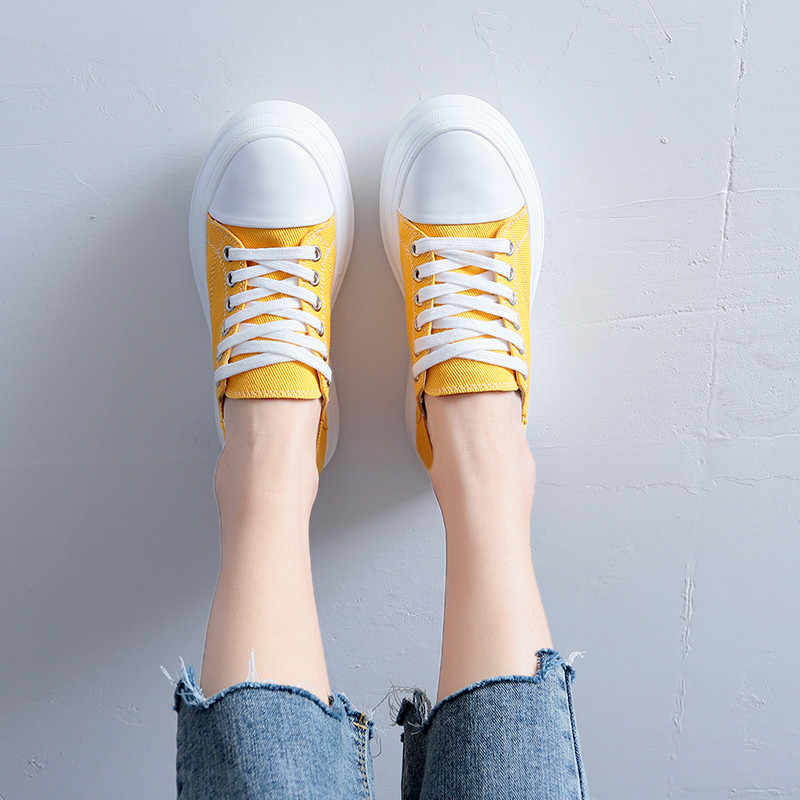 COOTELILI Frühling Frauen schuhe Plattformen Turnschuhe Leinwand Schuhe Frau Casual Round Toe Lace up Creepers Weibliche Pumpen