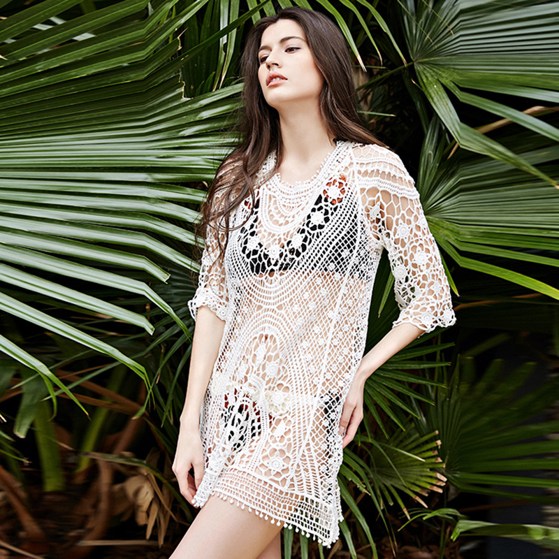 90863990176c5 Women Swimwear Bikini Cover Up Tunic Dresses Crochet Tropical Tops Blouse  Sexy Ladies Hollow Beach Shirt Wrap Suit Beach Smock-in Two-Piece Separates  from ...