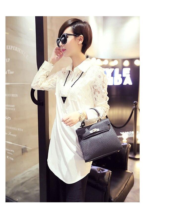 Lace Shirt For Women Batas e Blusas Vetement Haut Femme Office Work Wear Social Long Blouse Big Size Roupa Social Top S2774